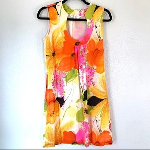 Trina Turk colorful floral silk mini dress size 2